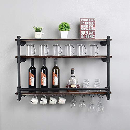 Industrial 36 Wall Mounted Wine Racks with 9 Stem Glass Holders for Wine Glasses3-Tier Storage Wood ShelfMugs RackBottle Glass HolderWine Storage Display RackHome DécorRetro BlackStyle A