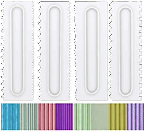 BRMDT Juego de 4 peinetas para decorar y glaseado, para decorar mousse y crema de mantequilla, herramientas para bordes de torta, de plástico, con 8 diseños de texturas, color blanco