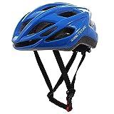Casco de Bicicleta para Adultos, Casco de Bicicleta Ligero Casco de Ciclo con luz LED Casco de Bicicleta MTB Ligero Tamaño Ajustable (Azul)