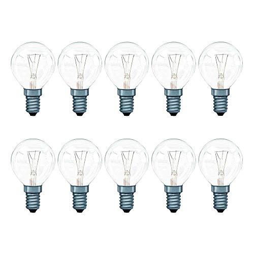 10 x Tropfen Glühbirnen 40W E14 klar Glühlampen 40 Watt Leuchtmittel Kugel P45 warmweiß 2700K DIMMBAR (Tropfen E14, 40W)