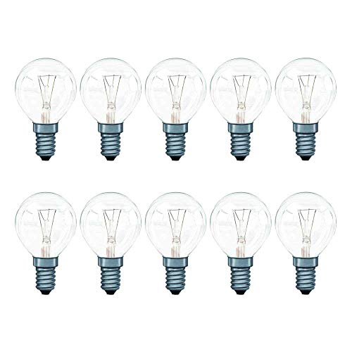 10 lampadine a incandescenza a goccia, 40 W, E14, trasparenti, P45, luce bianca calda, 2700 K, intensità regolabile, Gocce E14, 40W, E14