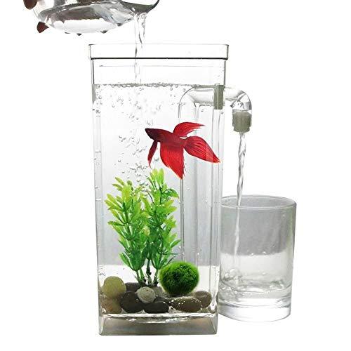 HAOSHUAI LED Aquarium Aquarium Selbstreinigungs-Fisch-Behälter-Bowl Convenient Schreibtisch Aquarium for Office Home Dekoration Tierzubehör