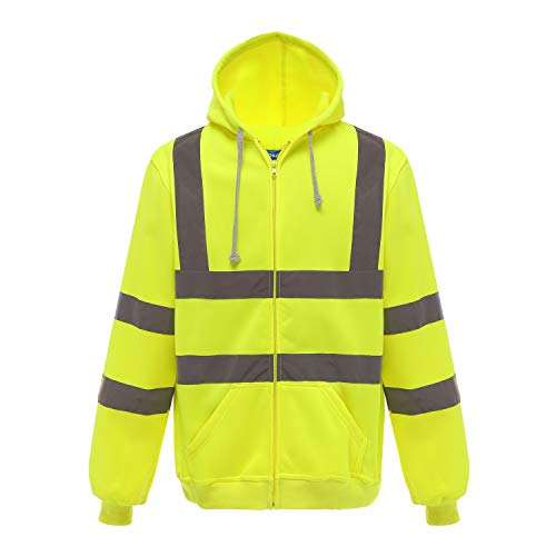 Phrmovs Class 3 Fleece Hoodie Zipper Front Safety Jacket with Pockets,Yellow,XL