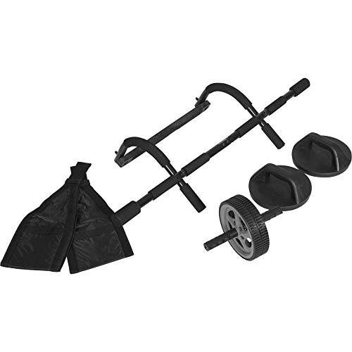 GORILLA SPORTS Ultimate 6 in 1 Set inkl. Trainings-DVD - Klimmzugstange Push Up Griffe Ab Straps Ab Wheel Training DVD