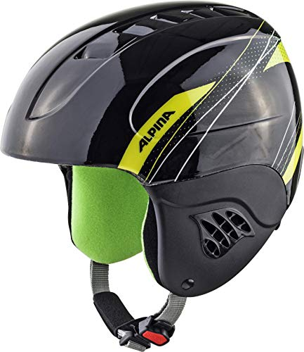 Alpina Kinder Skihelm Carat, Black/Green, 54-58 cm