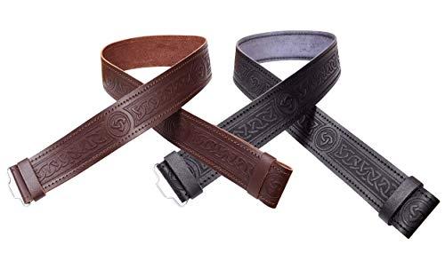 Leather Kilt Belt Scottish Embossed Highland Brown, Celtic Twist, Size Large