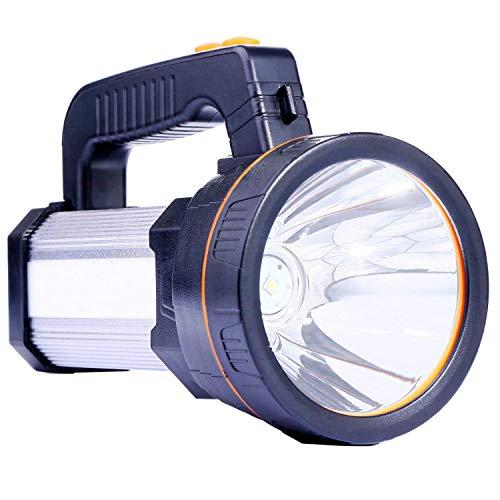 Lampe de poche rechargeable lumineuse avec lampe de poche, tactique à DEL avec poignée CREE L2 Spotlight Torche électrique ultra-longue de 6000 lumens avec prise USB