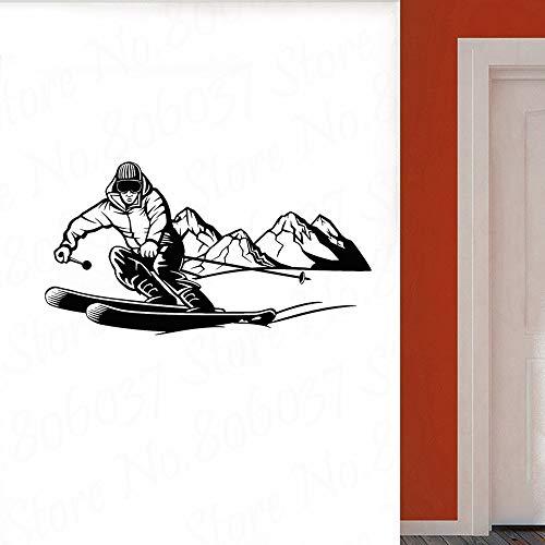 wZUN Calcomanías de Pared de esquí Esquiador Aventura Extrema Deportes de montaña Pegatinas de Pared Vinilo habitación de niños decoración de Dormitorio Papel Tapiz 57X30cm