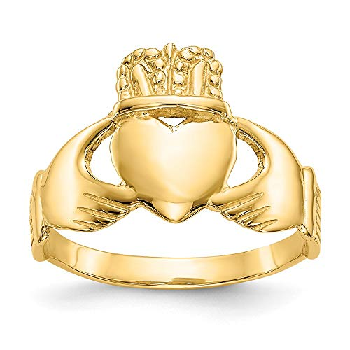 14k Yellow Gold Ladies Irish Claddagh Celtic Knot Band Ring Size 6.00 Fine Jewelry For Women Gifts For Her