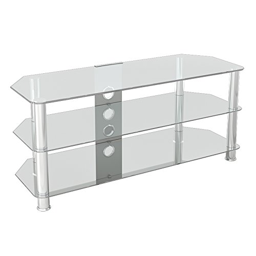 """King Glass TV Stand for HD LED LCD 4K 8K QLED TVs up to 55"""" inch by TV Furniture Direct (114cm, Clear Glass, Chrome Leg)"""