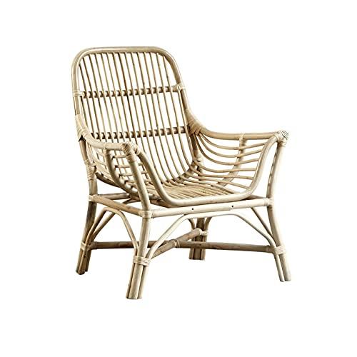HFVDA Balkon Rückenstuhl, Rattan Sessel, Hof Lounge Chair, Tee Zimmer Tee Tischstuhl, Wohnzimmer Sofa-Stuhl, mit Rückenlehne und Armlehnen