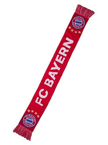FC Bayern München Schal, offizieller Fanschal mit Schriftzug FC Bayern und Mia san mia, rot/weiß