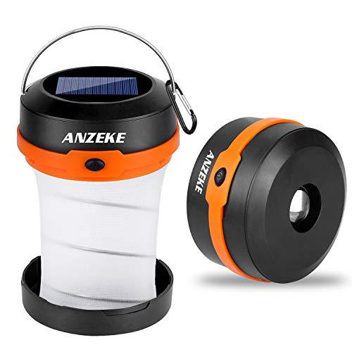 ANZEKE Solar-betriebene LED-Campingleuchte, zusammenklappbares Design Solar oder USB, wiederaufladbares Notstrom-Ladegerät, tragbare 4 Modi LED-Notfall-Leuchten für Camping Wandern Angeln