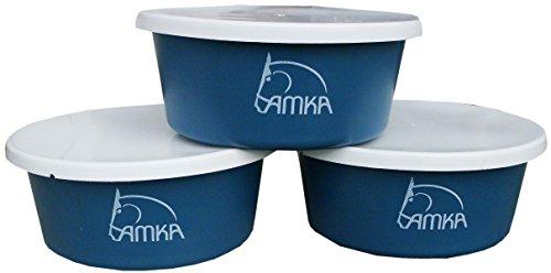 Reitsport Amesbichler AMKA Müslischale Futterschale Leckschüssel 5 Liter mit Deckel 3er Set für Tiere, Pferde, Hunde, Farbe: Petrol