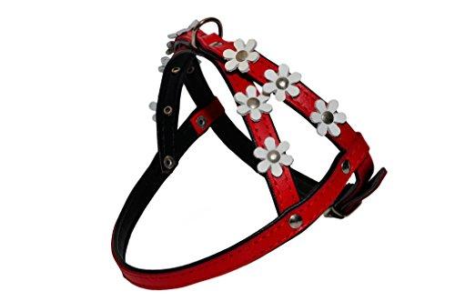 avec revêtement noir et rouge avec fleurs Daisy couleur Harnais pour chien Puppy Fleur Daisy Étui à rabat en cuir souple rembourré
