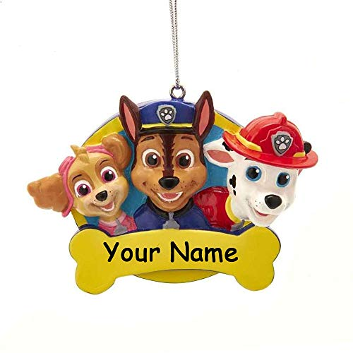 Personalized Paw Patrol Rescue Pups Characters Holiday Christmas Ornament with Custom Name