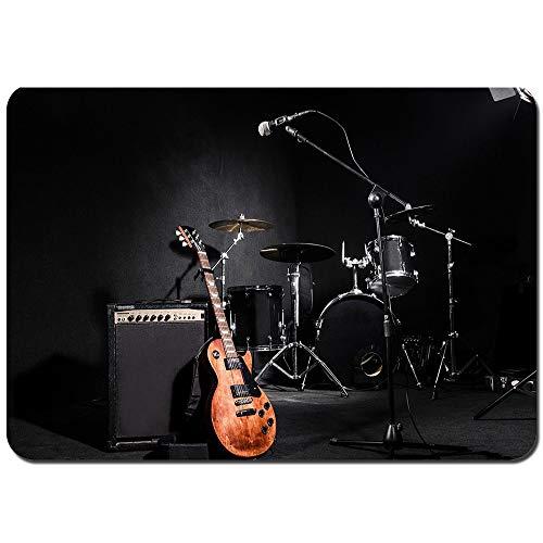 YANAIX Badematten,Schlagzeug, Gitarre, Musiktraum, Bandbühne,weich waschbar rutschfeste Badteppich 75X45cm