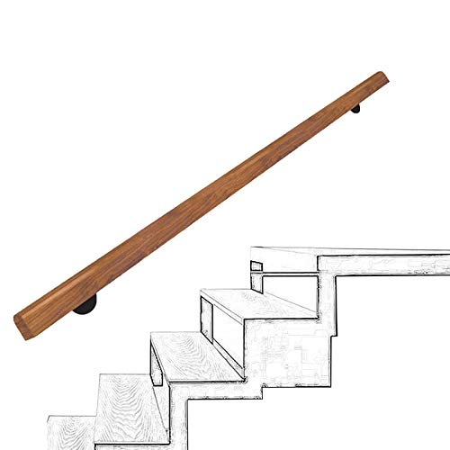 Handrails de la escalera de madera de 1ft-20ft, pasamanos profesionales de la escalera antideslizante del corredor, barra de soporte de la villa de loft, el kit de la barra de agarre de la escalera de