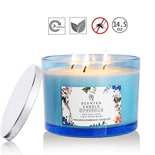 XYUT Citronella Candle Outdoor Indoor Aromatherapy Stress Relief Pure Soy Wax 3-Wick Scented Candles 80 Hour Burn Highly Scented Long Lasting (14.5 Ounce, Glass)