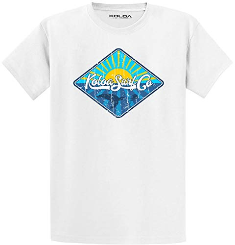 Koloa Surf Chasing Jellyfish Logo 4.5oz Lightweight Cotton T-Shirt-White-XL