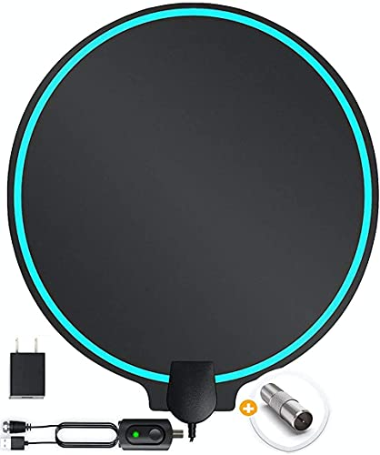 Amplified HD Digital TV Antenna 200 Mile Plus Long Range Support Fire TV Stick, 4K 1080p TV's   Indoor Smart Switch Amplifier Signal Booster Award 2020 Patented Round Shape