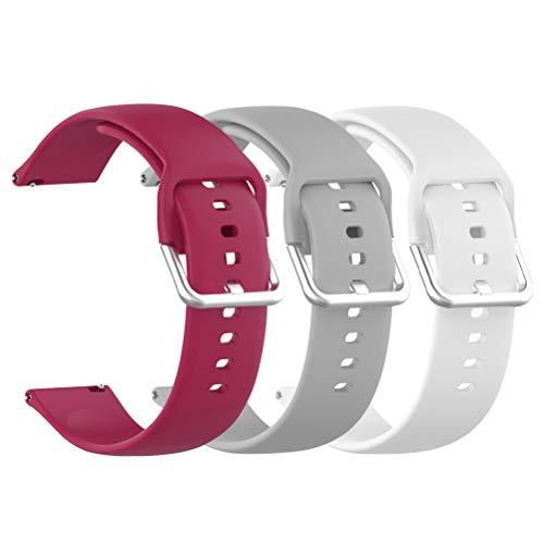 3pcs Correa de Repuesto de Silicona de 20 mm, Compatible con Galaxy Watch Active, Pulsera de Repuesto Smartwatch, Pulsera Deportiva,Suave y Transpirable,Gris,Blanco,Vino Rojo(5.5-6.7 pulgadas)