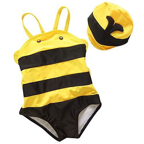 AIWUHE Biene Baby Mädchen Einteiler Badeanzug mit UV-Schutz Beachwear Bademode Schwimmanzug mit Sonnenhut