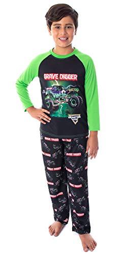 Monster Jam Boys' Grave Digger Monster Truck Raglan Shirt And Pants 2 Piece Pajama Set (SM, 6/7)