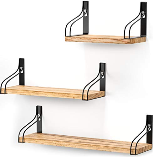 Tribal Cooking Shelves - Floating Wall Shelves - Decorative Wooden Wall Shelf - Set of 3 Easy to Mount Shelves with Black Brackets for Bedroom, Bathroom, Farmhouse, Rustic or Modern Home Decor
