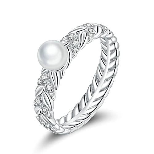 FGHNB anello di fidanzamento Anelli in argento sterling 925 Anelli con simbolo dell'infinito per le donne Anelli con orecchie di grano lucide Fascia in argento Gioielleria raffinata Fedi nuziali Regal