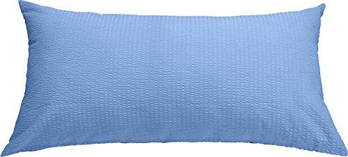 Erwin Müller Zusatz-Kissenbezug, Kissenhülle Seersucker blau, Größe 40x80 cm - luftig leicht, bügelfrei, atmungsaktiv, mit Marken-Reißverschluss, 100% Baumwolle (weitere Farben, Größen)