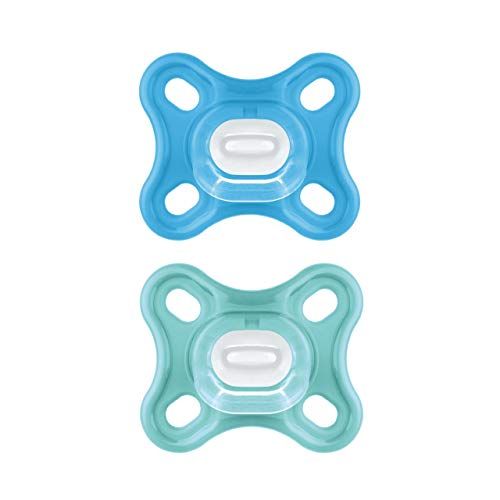 MAM Comfort Schnuller im 2er-Set, besonders kleiner und leichter Baby Schnuller für Früh- & Neugeborene aus 100% Silikon, mit weichem MAM SkinSoft Saugteil & Schnullerbox, 0+ Monate, blau/türkis