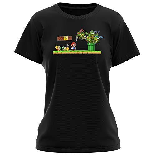 T-shirt Femme Noir parodie Tortues Ninja - Super Mario - Leonardo, Raphael, Donatello, Michelangelo et Mario - La revanche des Tortues (Super Deformed Edition) (T-shirt de qualité premium de taill