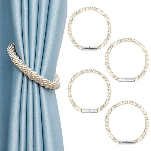 4 Pack Strong Magnetic Curtain Tiebacks Durable Convenient Window Decorative Weave Rope 22 Inch Long Draperies Holdback Holders Perfect for Home Office Bathroom Decoration(Beige)