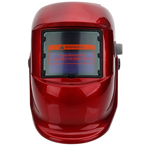 Red Welding Helmet Pro Solar Powered Auto Darkening Grinding Welder Mask Gear