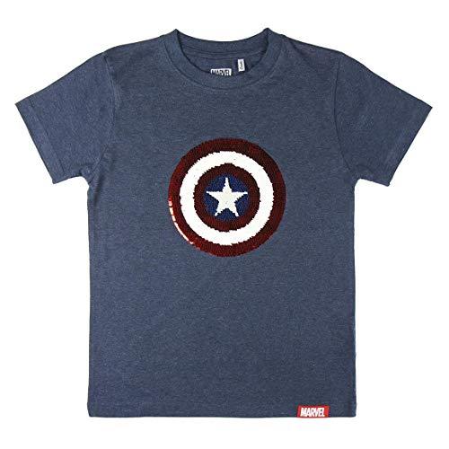 Cerdá Marvel Los Vengadores Escudo Capitan America Niño de Lentejuelas-100% Algodon Camiseta, Azul, 10 años para Niños