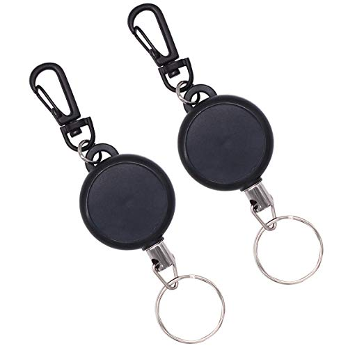 NATUCE 2 Pieces Retractable Key Chain, Heavy Duty Key Reel with 23 inch Steel Wire Rope, Retractable Key Recoil Pull Badge Reel Key Chain Key Ring for ID Badge Holder, Black