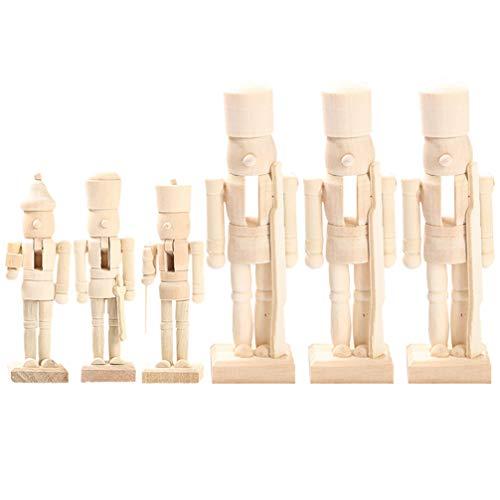 KESYOO 6 Stücke Holz Nussknacker Soldat Figur Puppe 12cm DIY Holzfiguren zum Bemalen Basteln Weihnachtsfiguren Dekofigur Weihnachten Deko Ornamente Tischdeko Xmas Party Geschenke - Zufällig