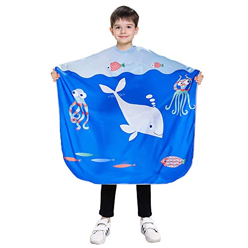 Noverlife Kinder Haircut Barber Cape mit Blue Ocean Muster, Große 51 x 35