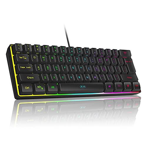 MageGee TS91 Mini 60% teclado para juegos/oficina, resistente al agua, tipo de teclado, con cable RGB retroiluminado compacto teclado para ordenador portátil para Windows/Mac/Laptop (negro)