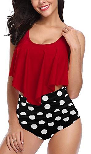 Fancyskin Plus Size Swimsuits for Women 2 Piece Bikini Sets High Waist Tankini Tops Red XL