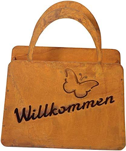 Bornhöft Tasche Willkommen zum Bepflanzen Windlicht Beetdeko Metall Rost Gartendeko 23cm x 20cm Edelrost rostige Deko für den Garten