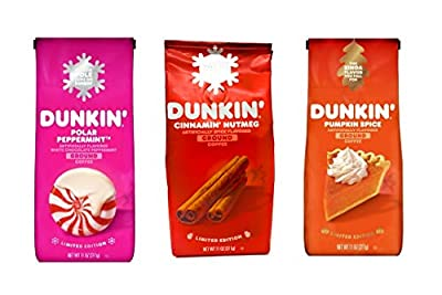 Dunkin Donuts Coffee Seasonal Ground Coffee Variety Pack - Polar Peppermint, Cinnamon Nutmeg, and Pumpkin Spice - 33 oz Total - 11 oz Per Bag - Bulk Limited Edition Dunkin Coffee