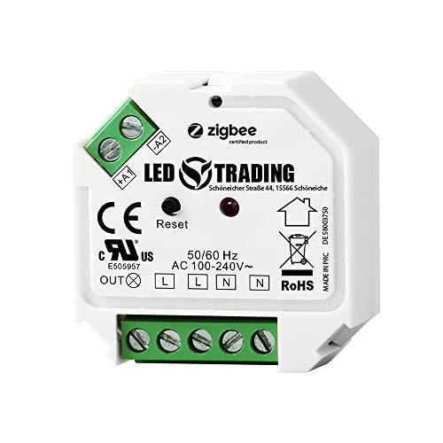 ZigBee 3.0 Unterputz Schalter, 1 Kanal für 230V max. 200W LED 400W Halogen mit Taster-Anschluss schaltbare Lampen, Trafos & Leuchten mit Neutralleiter Anschluss (Schaltaktor)