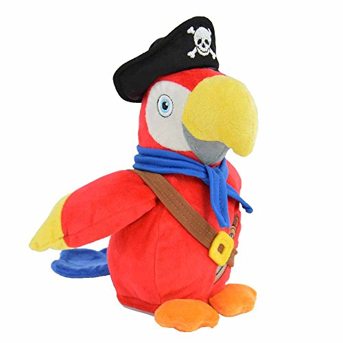 Kögler 75915 - Laber Piraten Papagei Parry, Labertier mit Aufnahme- und Wiedergabefunktion, plappert alles witzig nach und bewegt sich, ca. 22,5 cm groß, ideal als Geschenk für Jungen und Mädchen