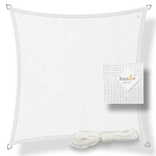 hanSe® Marken Sonnensegel Sonnenschutz Wetterschutz Wetterbeständig HDPE Gewebe UV-Schutz Quadrat 3,6x3,6 m Weiss