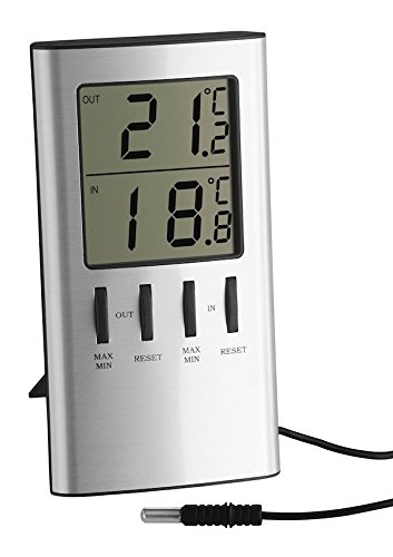 TFA Dostmann digitale thermometer voor binnen en buiten, buitentemperatuur, binnentemperatuur, ook ideaal voor vriesapparaat/aquarium