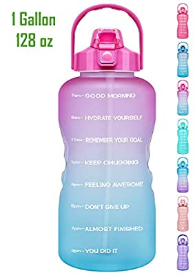 Venture Pal 1 Gallon Large Motivational Sports Water Bottle with Time Marker & Straw, Leakproof BPA Free Reusable Fitness Water Jug for Gym,Work and Outdoor Sports-Ombre Fuschia Green