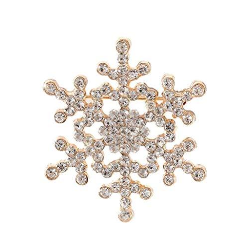 Cadoline Gold-Tone 4.0 x 4.0cm Gold Crystal Christmas Snowflake Snow Brooch Pin Badge Rhinestone New