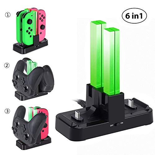 KINGTOP Charging Dock for Nintendo Switch Joy-Con and Pro Controllers 6 in 1 Joy-Con Pro Controller Charger Station with Individual LEDs Indication